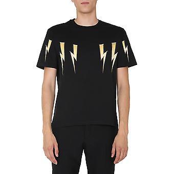 Neil Barrett Pbjt782sp538s516 Men's Black Cotton T-shirt