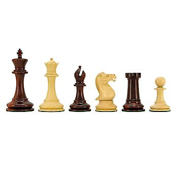 Old English Elite Series Red Sandalwood Chess Pieces 4 Inches
