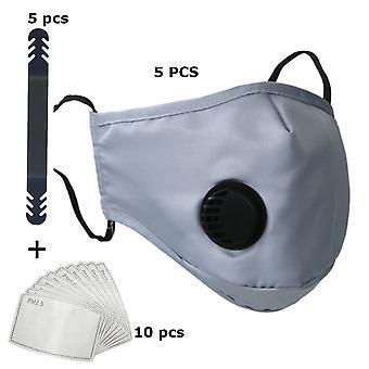 5 máscara bucal de pacote - tampa da boca com cinza filtro de respiração - completo