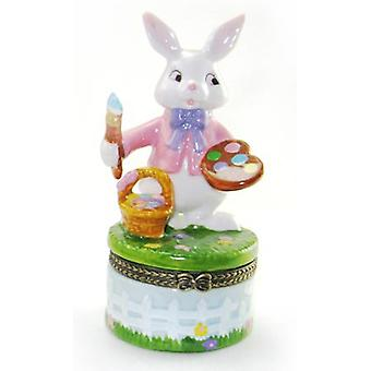 Painting Artist Easter Bunny Hinged Trinket Box