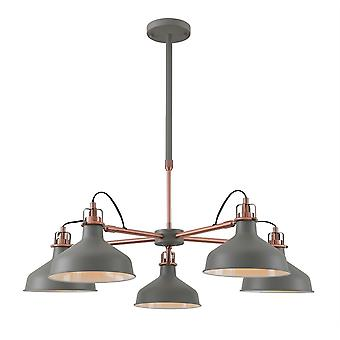 Éclairage Luminosa - Télescopique 5 Lumière, 5 x E27, Gris sable, Cuivre, Blanc