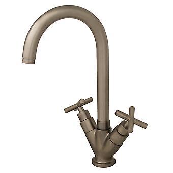 Luxe Single Hole/Dual Handle Entertainment/Prep Faucet con beccuccio girevole tubolare alto - Nichel spazzolato