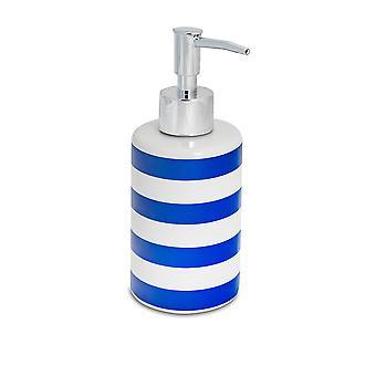 Soap Dispenser - Glazed Ceramic Household Hand Pump Bottle - 280ml - Navy Stripe