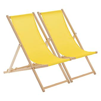 Traditional Adjustable Wooden Beach Garden Deck Chair - Yellow - Pack of 2