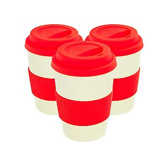Reusable Coffee Cups - Bamboo Fibre Travel Mugs with Silicone Lid, Sleeve - 350ml (12oz) - Red - Pack of 3