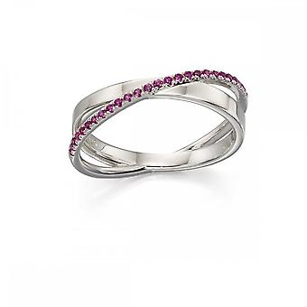 Fiorelli Silver Pave Band Ring In Silver & Pink Zirconia Ring R3592P