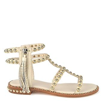 Ash POWER Sandals Ivory Leather & Gold Pearls