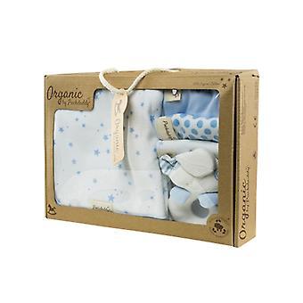 Puckdaddy Organic Wash set Filin Stars and Dots Pattern Light Blue Gift Set