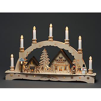 Konstsmide Wood Silhouette 7 Candle Village 3254-100