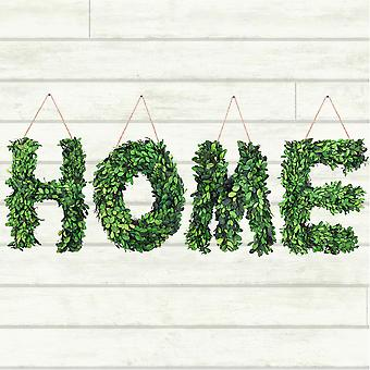 "Modern Home 12"" Real Preserved Boxwood Monogram Wreath Letters H-O-M-E"