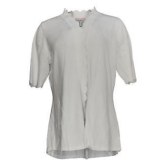 Isaac Mizrahi Live! Frauen's Pullover Jakobsmuschel Hem Cardigan weiß A306445