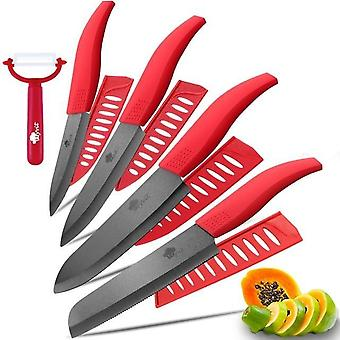 Ceramic Knife 3 4 5 Inch + 6 Inch Kitchen Knives Serrated Bread Set + Peeler
