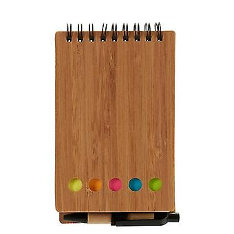 Spiral Notebook with Pen Bookmark Brown