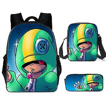 Leon Spike Shell Game School Bag /kids Personized Schoolbag 3pcs Sets