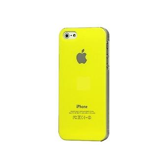 Iphone 5 Hard Plastic Cover Bagetui med Apple Logo - Gul