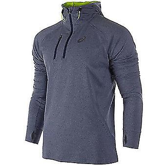 Asics 1/2 Zip Mens Running Hooded Sweat Jumper Blue 124757 8118 A6C