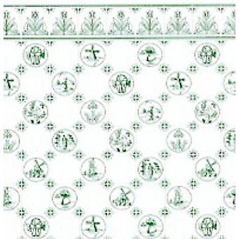 Melody Jane Dolls House Green White Delft Dutch Tile Miniature 1:24 Fond d'écran