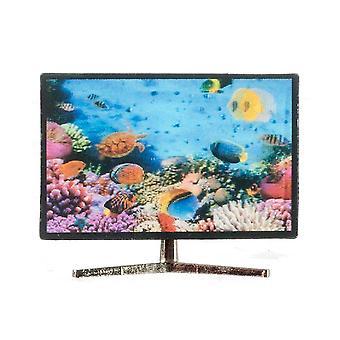 Puppen Haus Smart TV Tv mit 3d Fisch Bild 1:12 Wohnzimmer Zubehör