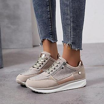 Women Gold Zipper Platform Trainers Casual Lace-up Tennis Sneakers
