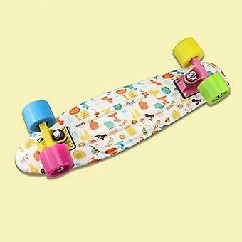 22inch Plastic Mini Cruiser Skateboard Long Board Banana Retro Graphic