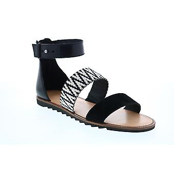 Frye & Co. Port 2 Band Sandal  Womens Black Suede Strap Sandals Shoes