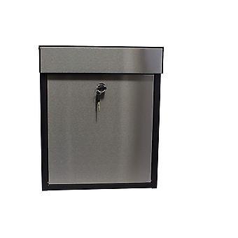Buzón de bloqueo de copo de madera, acero negro/inoxidable