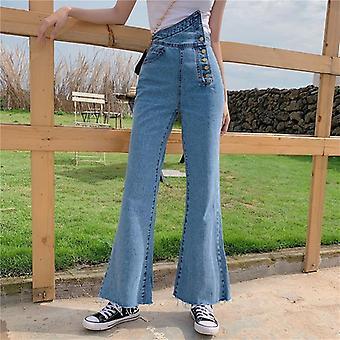נשים מכנסי ג'ינס התלקחות כפתור באורך מלא מזדמנים א-סימטרי