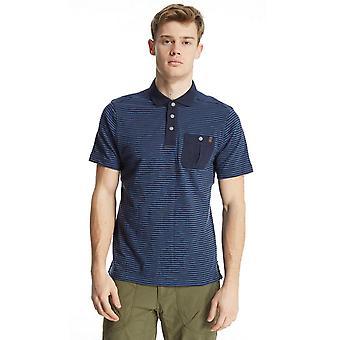 New Brasher Men's Robinson Stripe Short Sleeve Polo Shirt Navy