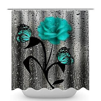 Red Rose& Butterfly Bathroom Non-slip Mat Set, Waterproof, Curtain Set,