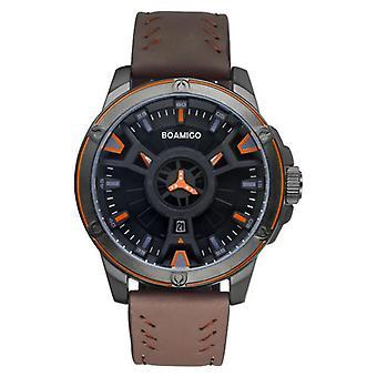 BOAMIGO 2110 Fashion Mężczyźni Oglądaj Kreatywne Dial Leather Strap 3ATM Wodoodporny Quar