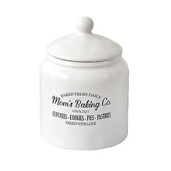 Country White Mom's Baking Co. Keraaminen Keksipurkki Ruoka Turvallinen Kanisteri Suljettu kansi
