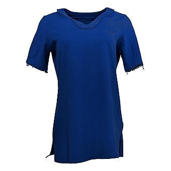 Denim & Co. Women's Top Perfect Jersey Tunic Dot Lace Trim Blue A376309