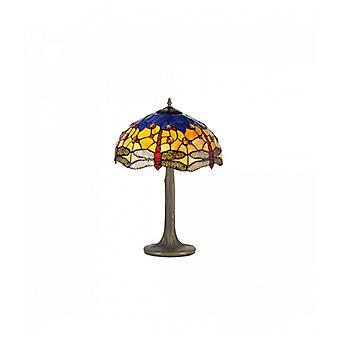 Lámpara De Mesa Tiffany Clio 2 Bombillas Naranja / Azul 16 Cm