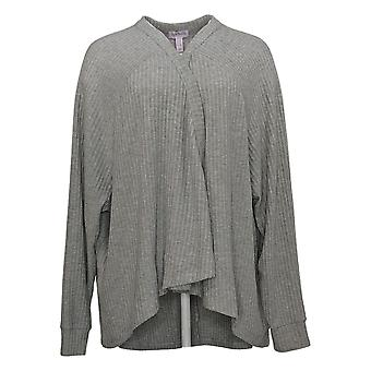 Anybody Women's Sweater Brushed Rib Long Sleeve Cardigan Grey A310154