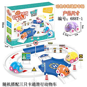 Children's animal car track parking lot toy