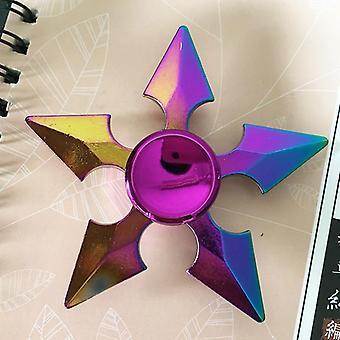 Rainbow Hand Spinner, Fidget Heptagonal Electroplate Metal Finger Relief