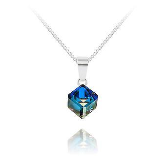 Silver crystal  bermuda blue cube necklace