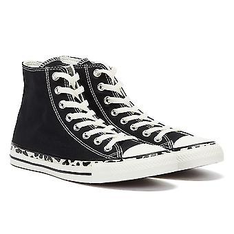 Converse All Star Edged Archive Leopard Hi Womens Black / Cream Trainers