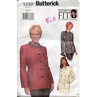 Butterick نمط الخياطة 3239 يخطئ فضفاضة تركيب سترة مبطنة الحجم D-E-F