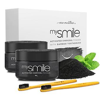mysmile Activated Charcoal Powder & Bamboo Toothbrush - 2 x 30g Activated Charcoal Teeth Powder & 2 Bamboo Toothbrushes