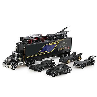 7pcs / Set Alloy Chariot Set Die cast Car 3: 169 Truck Model Classic Car Toy with Container(Black)