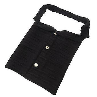 Black baby kids toddler thick knit soft warm blanket swaddle sleeping bag x4578