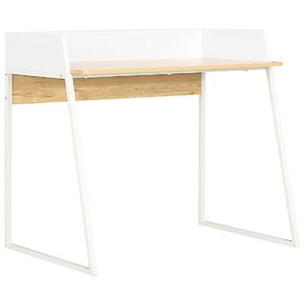 vidaXL Työpöytä Valkoinen ja Tammi 90x60x88 cm
