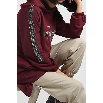 Printed Pocket Hooded Sweatshirt Tunic