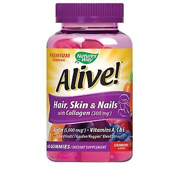 طريقة الطبيعة على قيد الحياة بريميوم الشعر -الجلد والأظافر Gummies، 60 العد