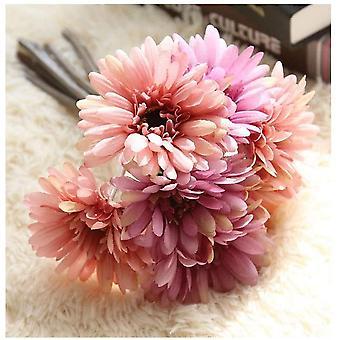 Konstgjord Daisy Flower Bride Bridesmaid Bouquet 7 Stjälkar Silk Daisy Pollen Lila