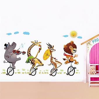 Cute Animal Cycling Wall Stickers Living Room Home Decor Wallpaper