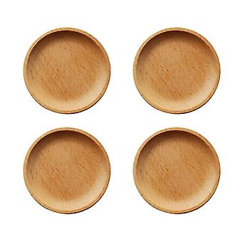 4x Natural Beech Wood Round Mini Serving Tray