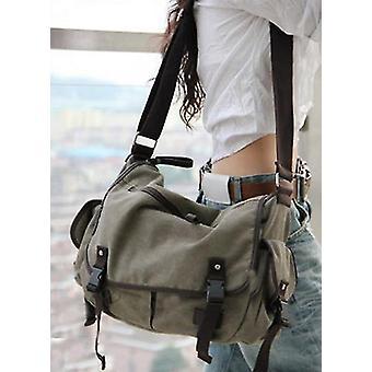Large Vintage Canvas Messenger Bag Book Laptop Shoulder School Ladys Travel(gray)