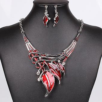 Necklace Earring Crystal Jewelry Set(Red)